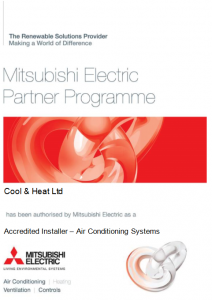 Accredited installer of Mitsubishi Air Conditioning products