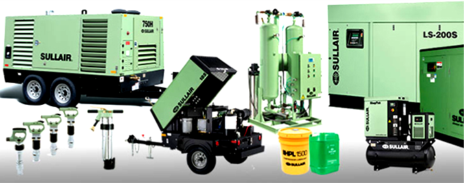 A range of Sullair air compressor parts and equipment